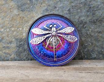 23mm Sapphire Blue Dragonfly Button Czech Glass BC-125,blue dragonfly clasp,dragonfly button,blue glass button,purple glass button,