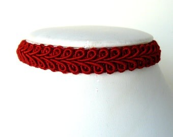 Red Lace Choker, Blood Red Goth Choker, Gothic Jewelry, Victorian Inspired Ribbon Necklace, Plain Cayenne Red Chocker, Vintage Style