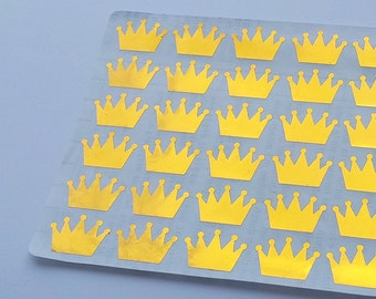 60 Metallic Gold Crown Stickers, Crown Planner Stickers, Envelope Seal, Party Stickers, Wedding Stickers, Birthday Stickers, Invitation