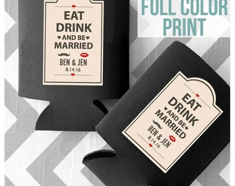 FULL COLOR PRINT - Custom Wedding Can Cooler - Eat Drink and be Married - Free Shipping on all Can Coolers