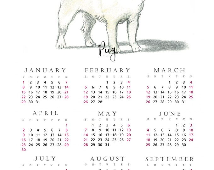 Pug 2017 yearly calendar