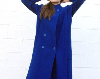 Blue Wool Long Maxi Coat in Vibrat Cobalt, Deep Pockets, High Collar