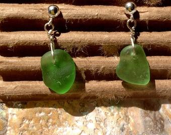 Green Beach Glass Earrings 3