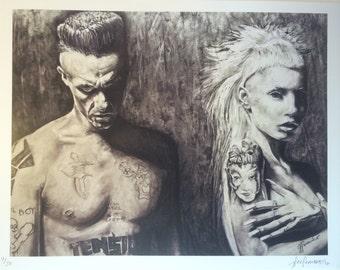 Die Antwoord print of original realistic charcoal drawing