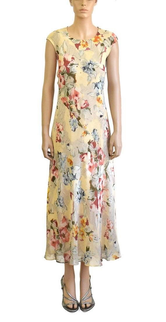 vintage dress 1990s cream silk floral dress vintage maxi