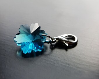 Blue Crystal Snowflake Dangle Charm for Floating Lockets, Necklace, or Bracelets-Aquamarine-Gift Idea