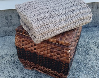 Hand Knit Throw/ Blanket/ Afghan, Taupe