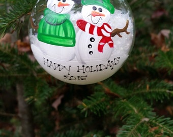 Personalized Snowman Christmas Ornament Handpainted Gift