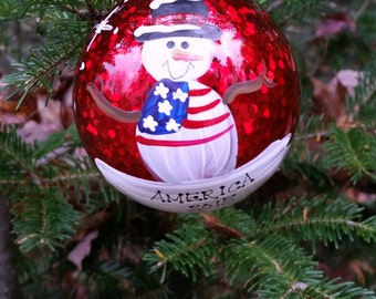 Personalized Snowman America Patriotic Christmas Ornament Handpainted Gift