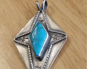 Royston Royal Blue Turquoise Morning Star Pendant in Sterling Silver