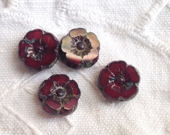 Czech Artisan 8 mm Flat Flower Hibiscus Plumeria Table Cut Beads - Deep Red with Picasso - 12 Beads