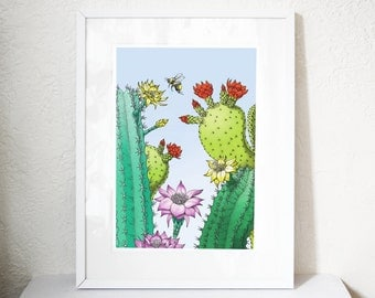 Cacti and bee art print printed on giclee paper with archival inks. Available in A4, A3 and A2