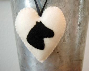Horse Felt Animal Ornament Silhouette Black Horse Antique White Heart Christmas Ornament