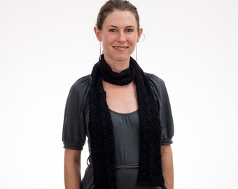 Black Scarf, Lace Knit, Cotton, Hand Knit - 214