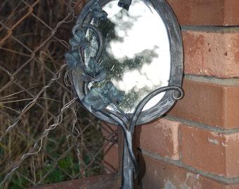 Vintage Hand Forged Wrought Blacksmithed Mirror Fairy Pixie Elven Leaf Mirror Fantasy Woodland OOAK Nymph Dryad Goddess Iron Mirror