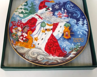 Fitz and Floyd  1st Edition Father Frost and the Celebration of Winter Collectors Plate. Vintage Christmas Plate, Holiday Home Deco