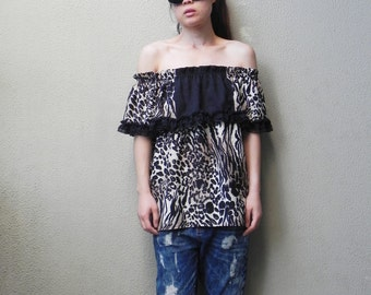 SALE, Off The Shoulder Top, Summer Top,Leopard Print, Four Way Top, Womens Top, Beach Top, One Size, Boho Top, Tube Top