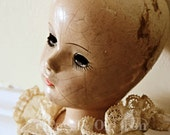 Antique doll photograph, old doll, macabre, unusual, creepy, elegant, horror, antique toy