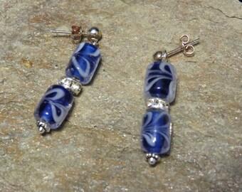 Swirling blue earrings