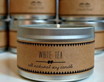WHITE TEA Soy Candle. Natural Candle. Scented Candle. Eco Friendly. Vegan Friendly. Natural Gift. Gift for Her.