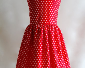 Minnie Mouse Dress for 3-4 Years, Polkadot Dress, Girls Party Dress, Red Girls Dress, Cotton Dress, Girl's Dress, Girl's Clothing