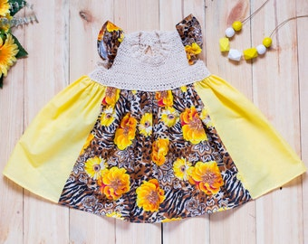 Summer knit baby dress, yellow girls dress, bright cotton dress, toddler summer dress, knitted dress, girly dress, 9-12 months onward onward