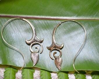 Rose Bud Brass Earrings - Brass Jewelry, Tribal, Psytrance, Goa, Pixie, Gypsy, Belly Dancing, Doof, Festival, Faerie.