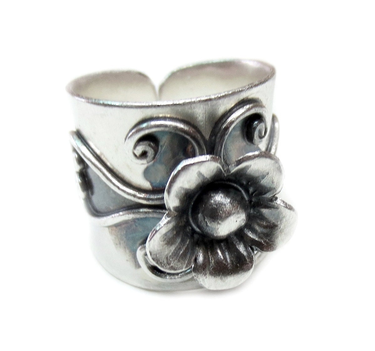 handmade wide band sterling silver flower ring hippie boho