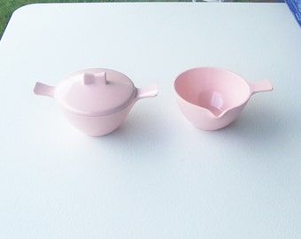 Pink Chicago Melmac melamine sugar and creamer with lid set