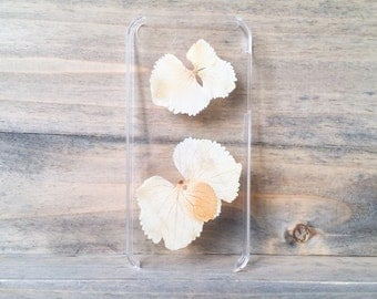 iPhone 5 case, real pressed hydrangea phone case, floral hard case, unique phone case