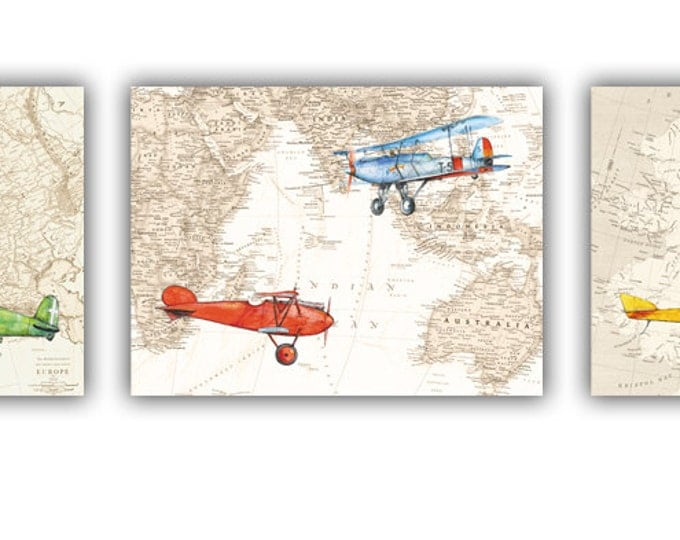 Airplane Map decor Set airplane prints Aircraft Watercolor Old map poster Boy's art Airplane painting Aviation art Baby boy nursery wall art