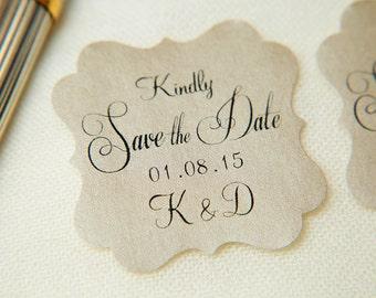 Mink Beige Printed Save The Date seals. Custom printed Wedding stickers. personalised Pearlised Envelope seals. Wedding favours, vintage