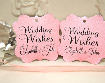 Custom Wishing Tree Tags. Wedding Wishes with Names. Blush Pink Wedding cards. Square printed favour tags. Pink pearlised card / gift tags