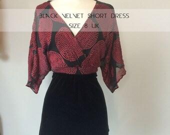 Black velvet short dress, red front, size 8UK