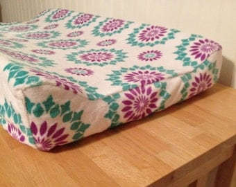 READY TO SHIP Minky Changing Pad Cover (Purple Lilac Turquoise White)(Snowflake Medallion Baby Girl)(Angular Edge Contoured Changing Pad)