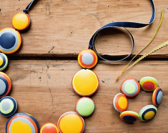 Sahara Disc Long Resin Necklace in warm multicolours