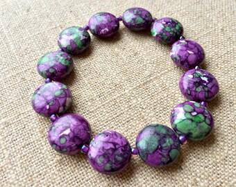 Purple Calsilica Bead Bracelet
