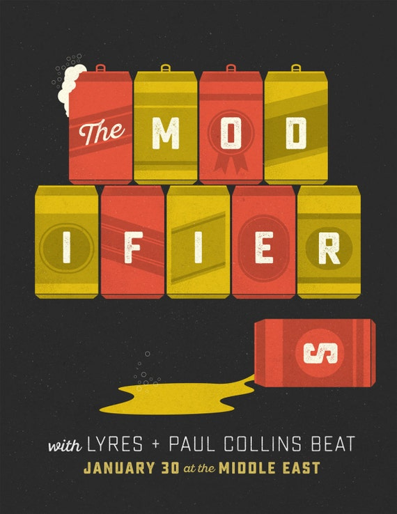 The Modifiers / Lyres gig poster  // The Middle East, Cambridge