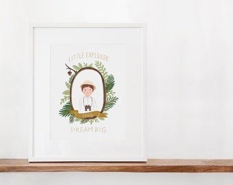 Little Explorer Dream BIG Personalized Art Print
