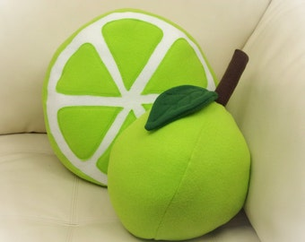 Set of 2 Pillows, Lemon and Lime Pillows, Citrus Pillow, Food Pillow, Fruit Pillow, Toy Pillow, 3D Pillow