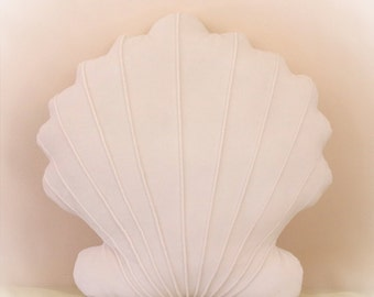 Scallop Shell Shaped Pillow, Seashell Pillow,  Toy Pillow, 3D Pillow, Nautical Decor, Beach House Decor