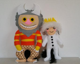 Cute felt plushies inspired where the wild things are, max and the wild, stuffed doll, cute plushies,stuffed toy,birthday ideas