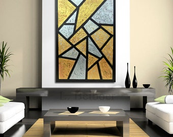 """Original large metalic painting cubism  abstract  wall art decor acrylic metallic textured gold silver  home decor 40"""" canvas ready to hang."""