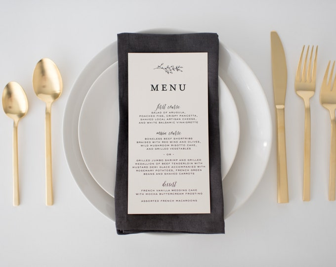 olivia wedding menus (sets of 10)  // winery olive branch laurel black white neutral calligraphy romantic modern wedding menu