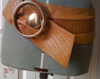 Vintage 1980s Tan Leather Belt Woven Shaped Belt New Wave Wide Belt Huge Brass Buckle