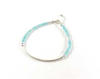 Demi-jonc Silver 925, Apatite Beads Bracelet