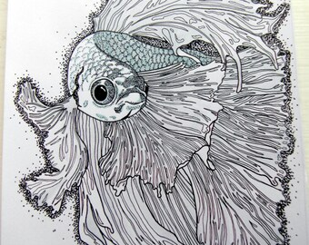 A5 Siamese fighting fish drawing