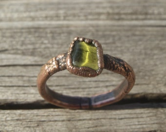 Raw Peridot Electroformed Copper Ring. Unique, natural, raw gem ring;August birthstone;boho, earthy,organic jewelry