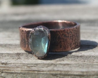 Rose Cut Labradorite Electroformed Copper Ring with Wide Band; unique, high quality Labradorite Ring; boho, organic,earthy ring