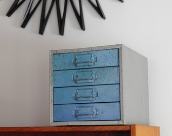 Currently On Hold** Vintage Industrial Metal Filing Cabinet / TEAL drawers!